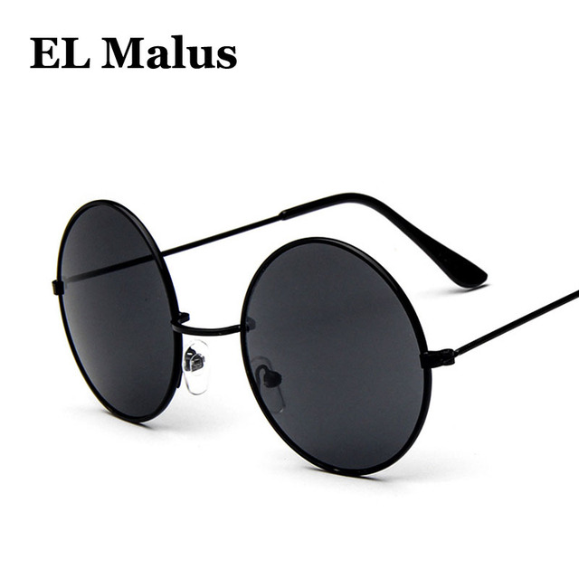ccb3c9d35 [EL Malus]Round Frame Sunglasses Men Women Retro Vintage Gold Black Lens  Sun Glasses