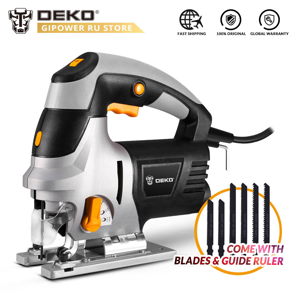 DEKO DKJS80Q1 800W Jig Saw Laser Guide 6 Variable Speed Electric Saw With 6 Pieces Blades, Metal Ruler, Allen Wrench Power Tools