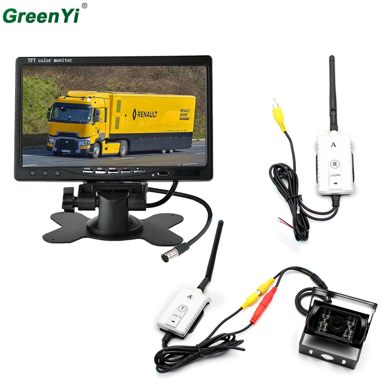 2.4GHZ Wireless Car Monitor 7 800*480 Color TFT LCD Car Rear View Rearview Monitor+Backup Reverse Parking Camera For Bus Truck 3in1 diy for hyundai i25 i35 i45 wireless wifi bluetooth backup rear view reverse rearview camera camara & screen monitor