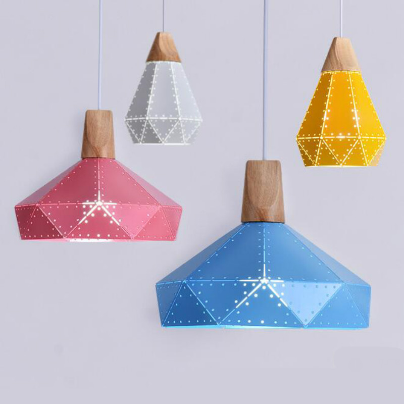 Modern Nordic 7 Colors Carved Aluminum Wood Geometric Led E27 Pendant Light For Dining Room Living Room Bar Deco Ac 80-265v 1143 modern creative fashion wood fabric led e27 floor lamp for living room bedroom hotel guest room deco light ac 80 265v 1010