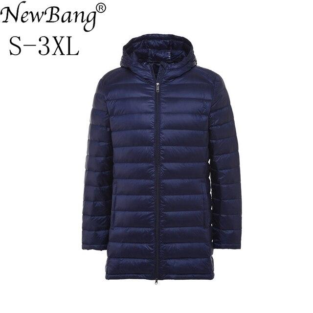 NewBang marca largo blanco abajo abrigo hombre pluma Parka hombre Ultra  ligero abajo chaqueta hombres ligero de9d7e91898f