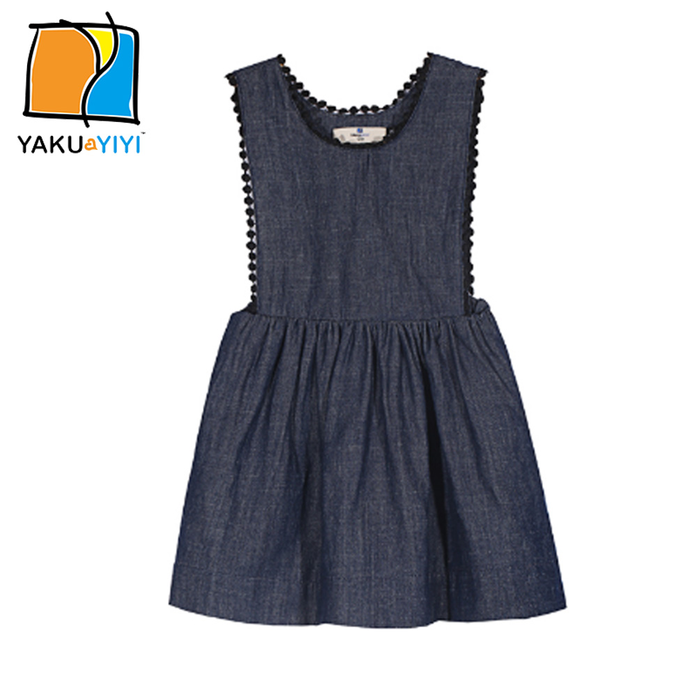 b64edc29892 YKYY YAKUYIYI Solid Blue Girl Dress O neck Pleated Baby Girls Mini Dress  Cute Sleeveless Overall Dress Children Clothing-in Dresses from Mother    Kids