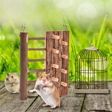 High Quality Natural Wooden Hamster Toy Wooden Climbing Frame Ladder House Toy For Small Pet Hamster 2018
