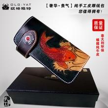 OLG.YAT leather vegetable tanned handmade wallet women purse hasp handbag mens bag Ethnic Retro Fish Choi cloth Pure Cowhide