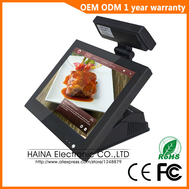 15 inch Win7 Linux Android All In One Touch Screen Pos System with Customer Display ...