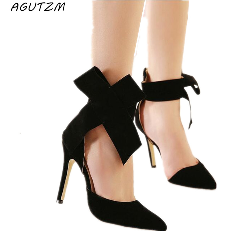 AGUTZM Women Big Bow Tie Pumps Butterfly Pointed Stiletto Shoes Woman High Heels Plus Size Wedding Shoes Bowknot advisable