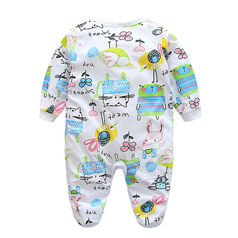 Newborn Baby Boy Girl Kid Elephant Print Romper Jumpsuit Bodysuit Clothes Outfit