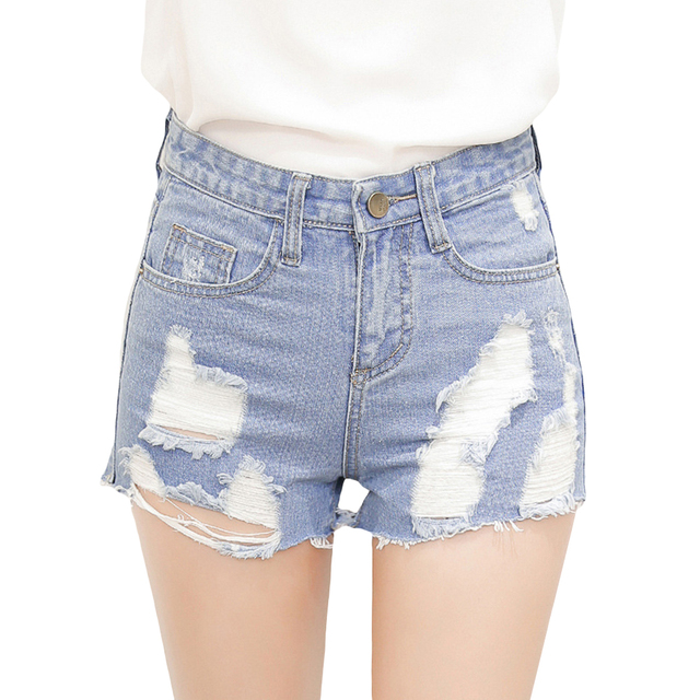 2016 Summer Korean Style Jeans Shorts Sexy Women's Lady Fashion Slim Fit Bore Hole Denim Shorts Casual High-waist Short Femme