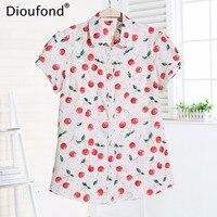 Dioufond Summer Short Sleeve Animal Print Blouses New Turn Down Collar Cotton Casual Women Shirts Plus