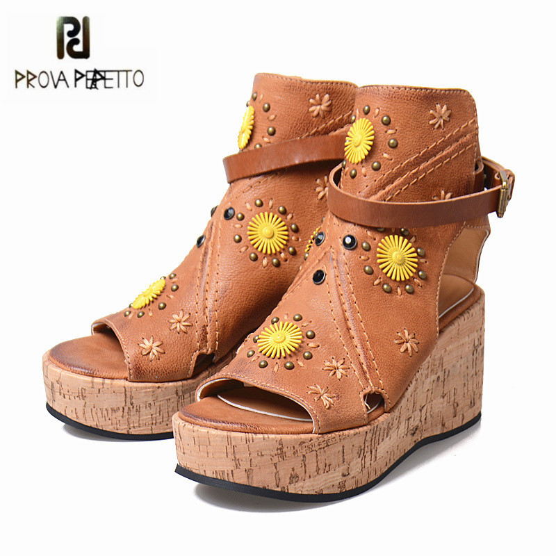 Prova Perfetto 2018 New Women Peep Toe Summer Boots Rivets Gladiator Sandals Wedge Shoes Woman Platform Pumps Sandal Wedges цена