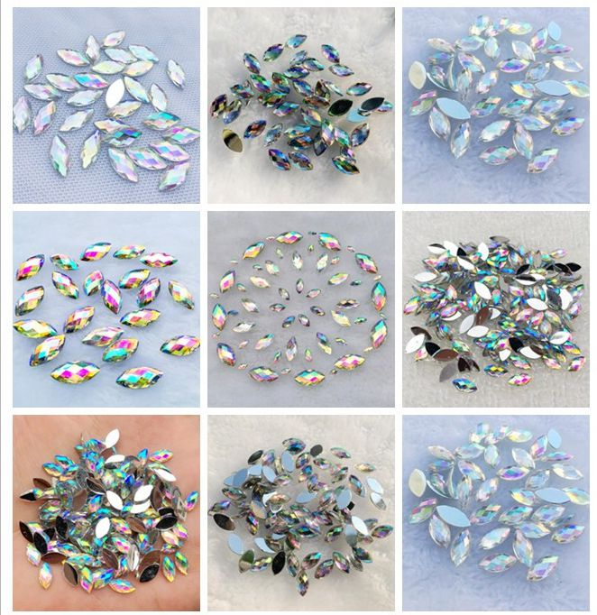 Detail Feedback Questions about YUSDTSHA White AB color Crystal Flat Back  Horse Eye Rhinestones Acrylic Gems Glue Beads Non Sewing Crystal Stones for  Crafts ... 0871189d38d9