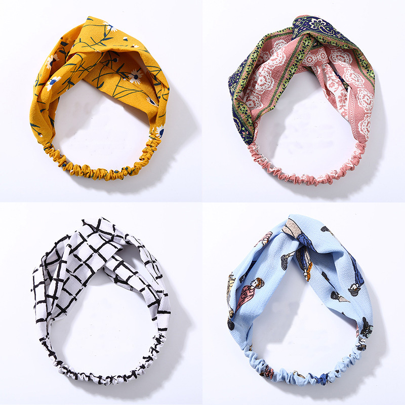 Fashion Women Knot Cloth Bandanas Print Striped Plaid Elastic Headbands Girls Head Wrap Hairbands Lady Hair Accessories   Headwear