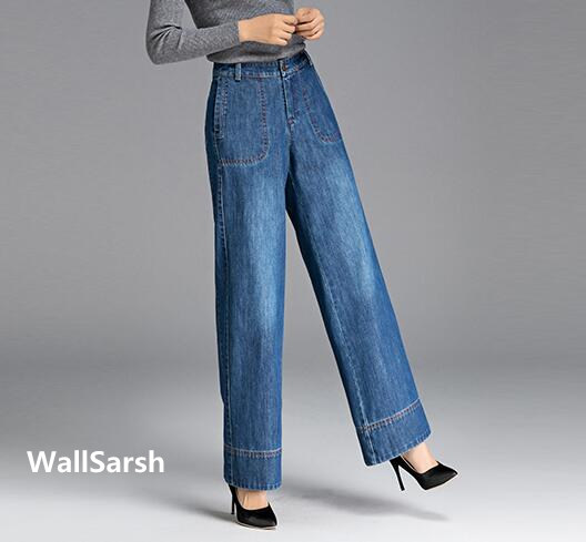 Wide leg pants for women plus size denim jeans casual high waist bleached cotton spring autumn new fashion trousers yfq0701 jeans spring new women jeans slim elastic skinny straight trousers ladies fashion full length plus size denim casual pants