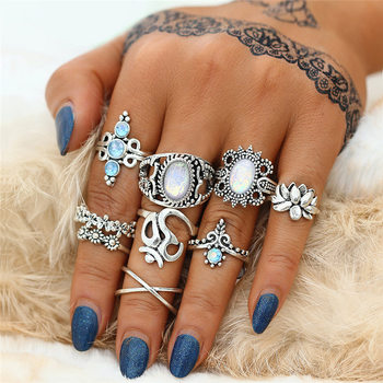 Bohemian Womens Flower Ring Sets 1