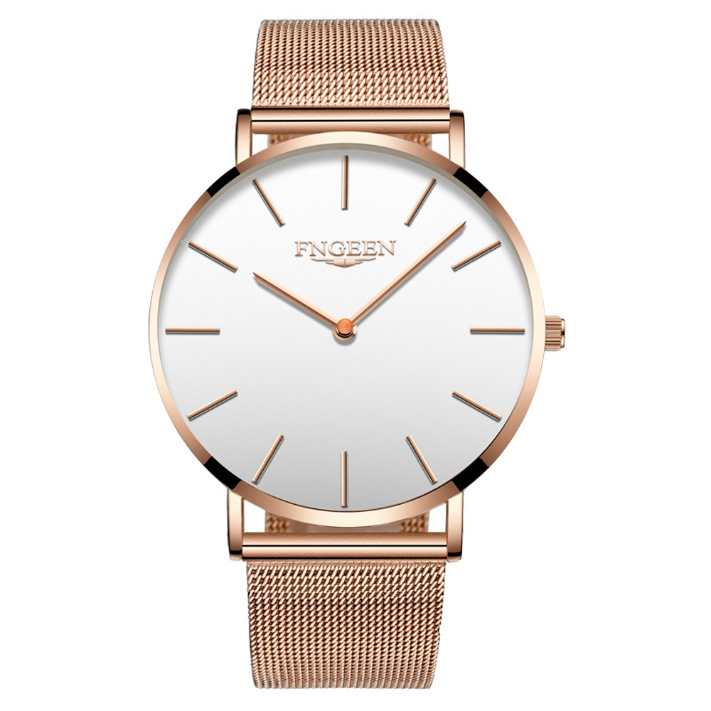 FNGEEN Watch Female Hour 2018 Fashion Ultra Slim Steel Mesh Quartz Watch Women Clock Hodinky Simple Business Black Women's Watch 4