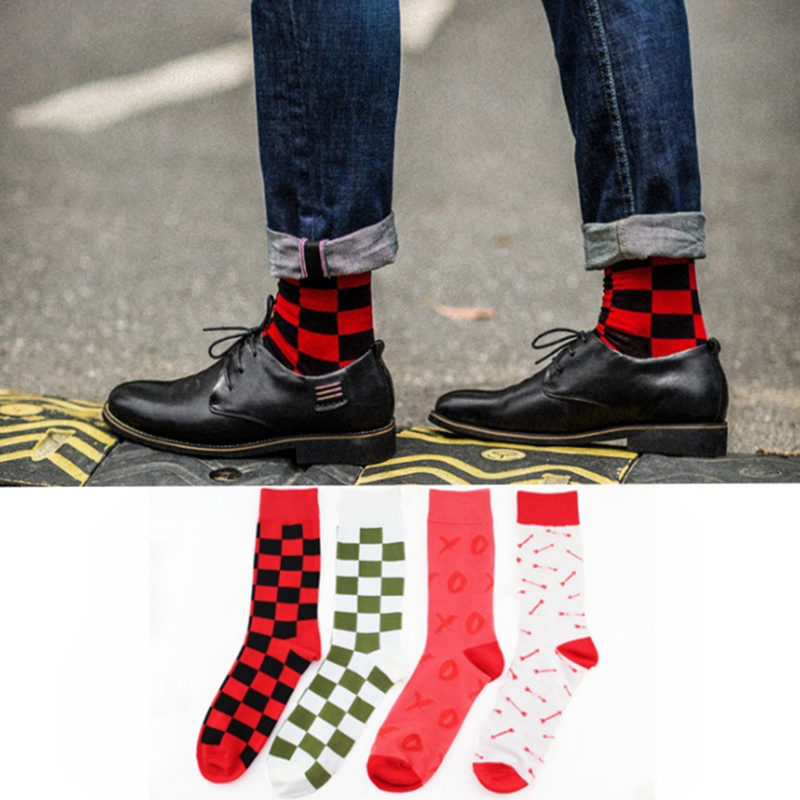 Peonfly Men Socks Large Edition Creative Socks Version Pure Fashion Joker Man Cotton Happy Funny Socks Colorful Men #2