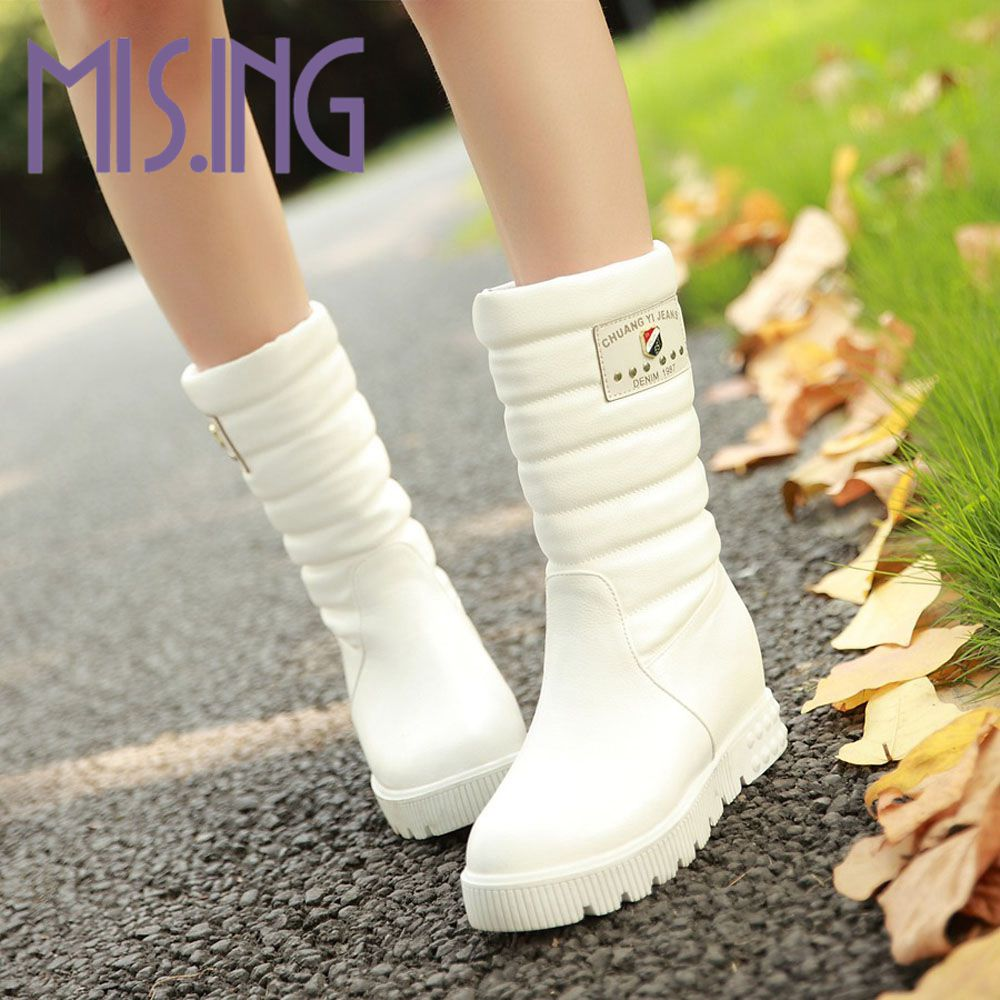 ФОТО Big size New fashion women boots Slip-On Mid-Calf flats shoes Round Toe winter Snow Boots Solid Plush Soft Leather shoes woman