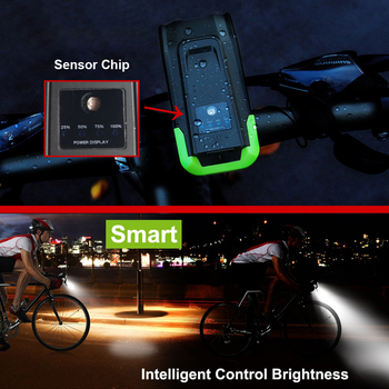 Induction Bicycle Front Light, Set USB Rechargeable, Smart Headlight With Horn 800 Lumen, LED Bike Lamp Cycle FlashLight 9