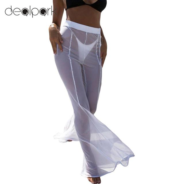 ee9d32a5766ffb Sexy Sweatpants for Women Wide Leg Pants Sheer Mesh Trousers Flare Pants  High Waist Solid Palazzo Bell Bottom Pants Black/White