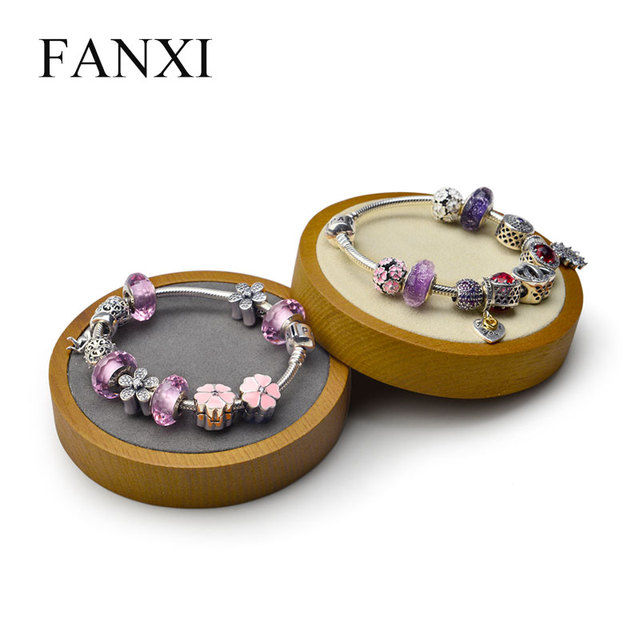 FANXI Solid wood bangle watch display stand  multifunctional jewelry holder round shape with microfiber for show exhibition