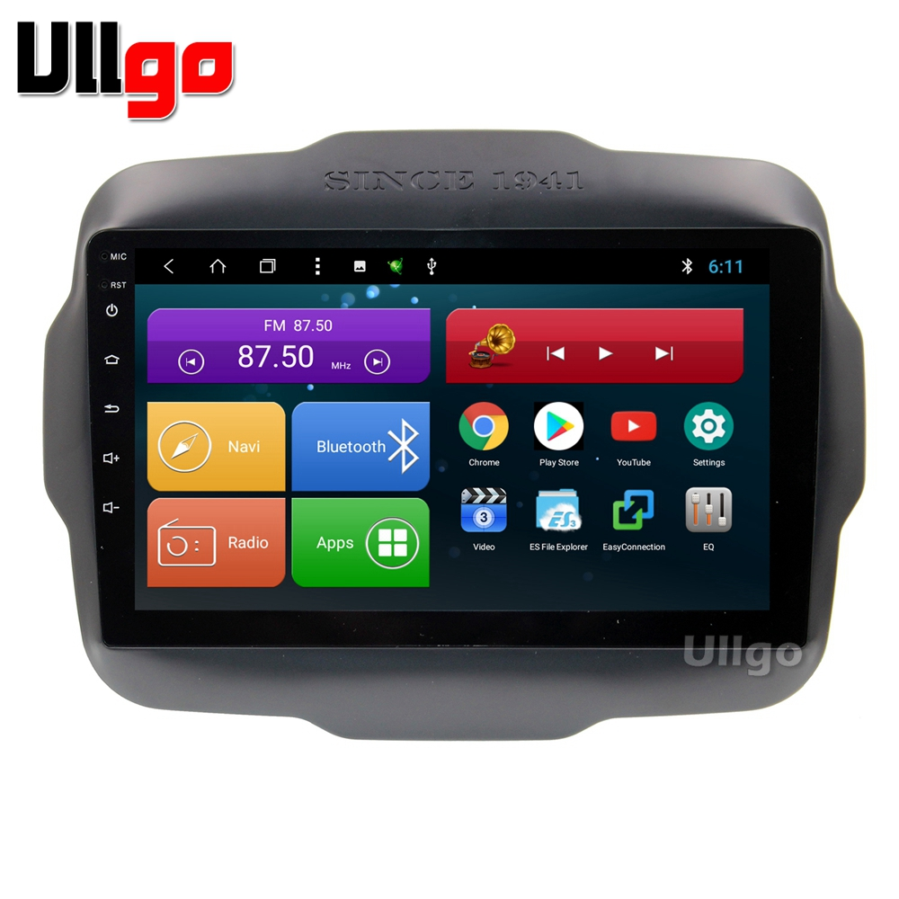 9 inch Android 8.1 Car Head Unit for Jeep Renegade Autoradio Central Multimedia with BT Radio RDS Mirror-link Wifi 16GB map card