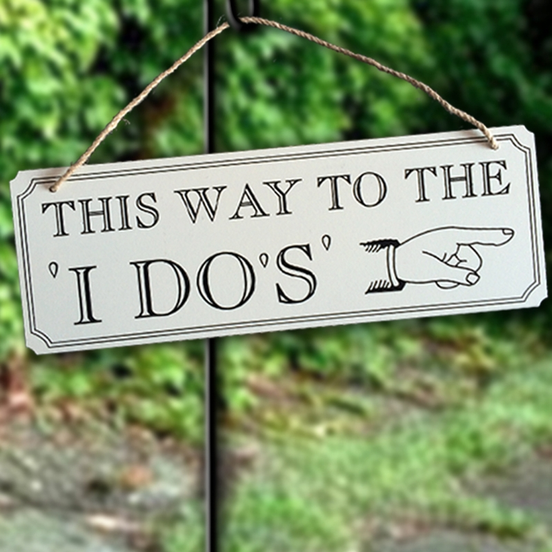 Wooden Hanging Signage This Way To The I DO Board Directional Signage Weddings Receptian DIY Wedding Decor