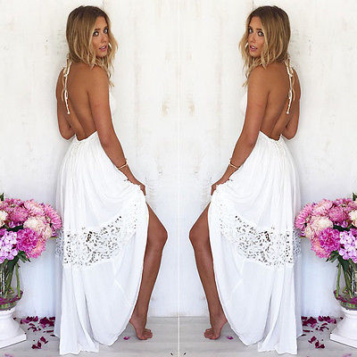 Sexy Women Maxi font b Long b font Lace Cocktail party Summer Beach Backless Ball Gown