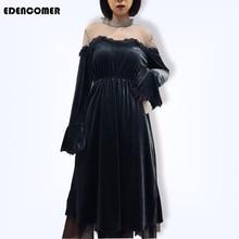 EDENCOMER Spring Dresses 2019 Long Sleeve Sexy Party Dress Korean Velvet Pure Color Shoulder-length Women Clothing