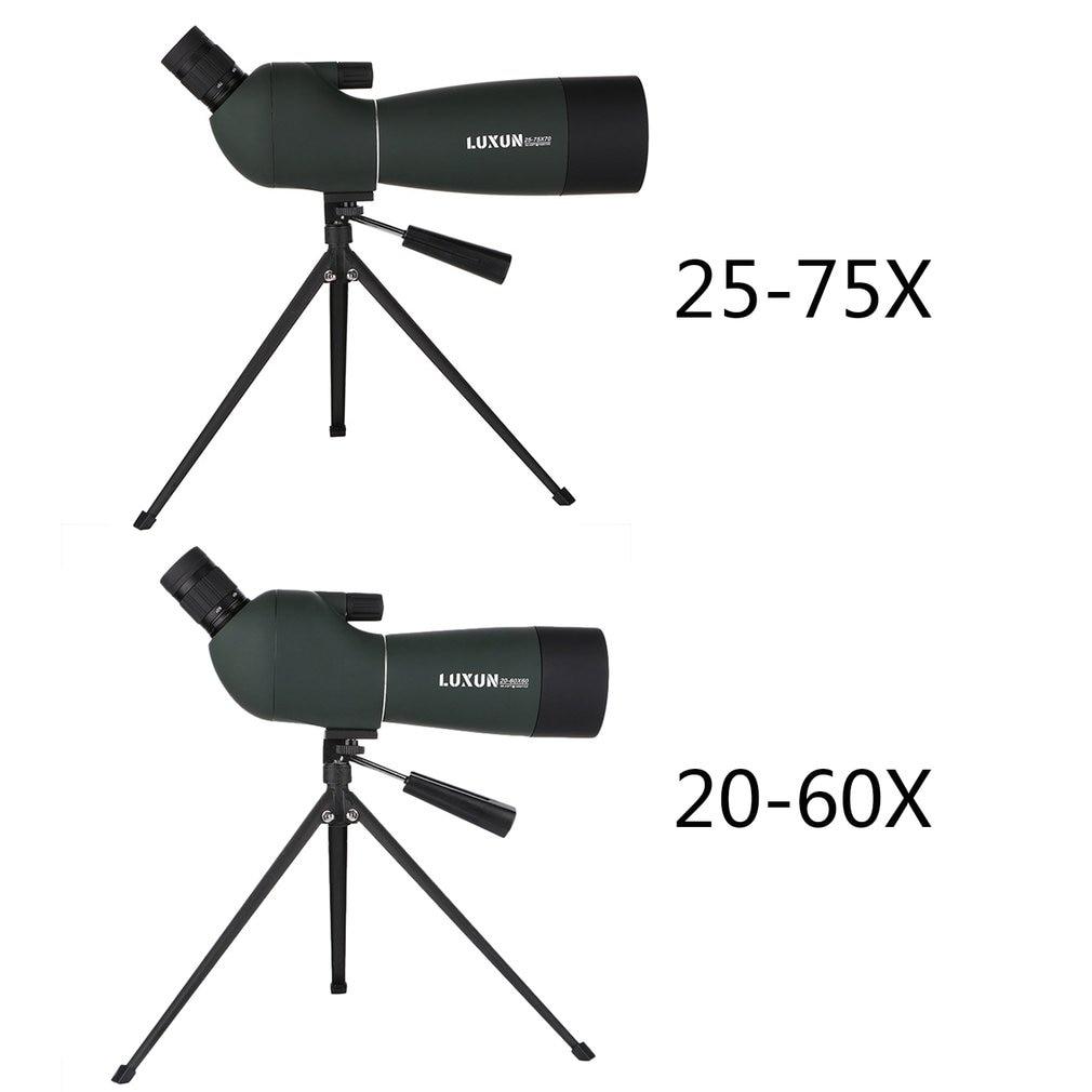 20-60x60/25-75x70 Spotting Scope Zoom Monocular Telescope Large Aperture HD Outdoor Observation Waterproof Green Film Telescope
