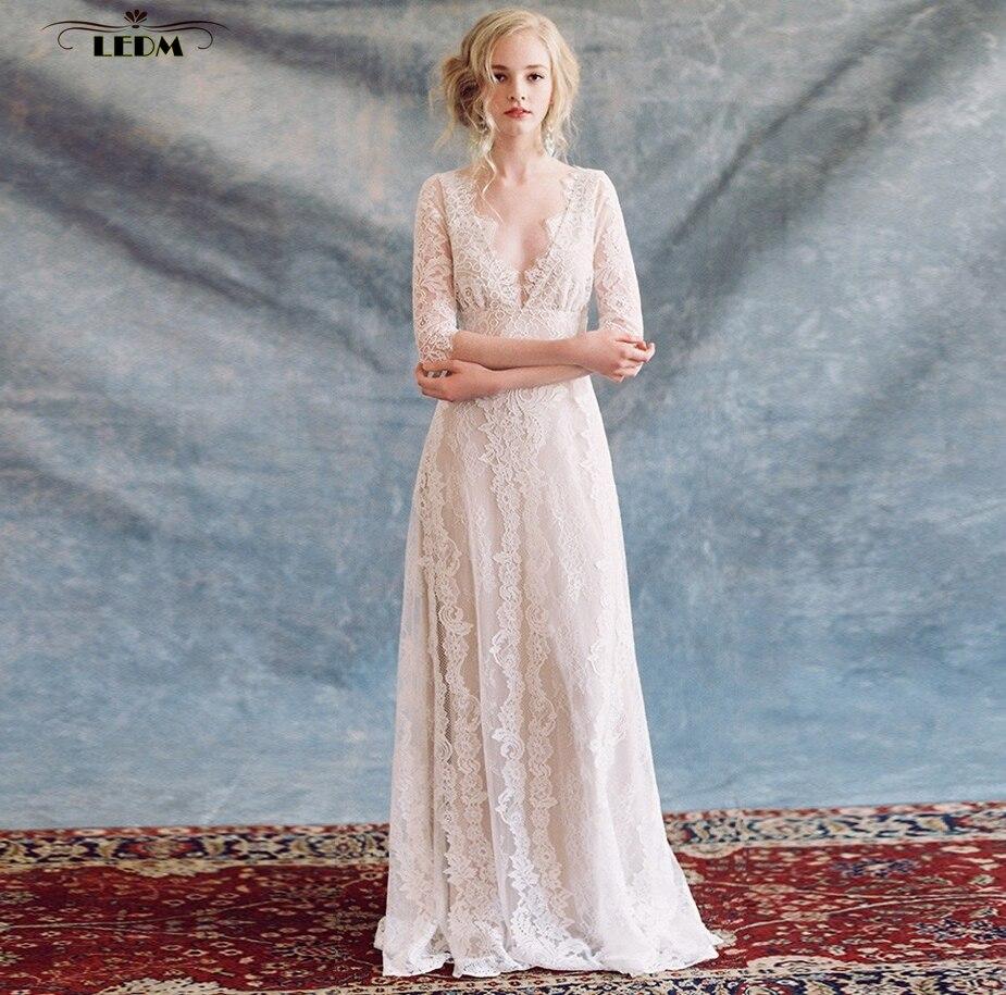 Vestidos De Novia 2017 New V Neck Lace Half Sleeve Aline