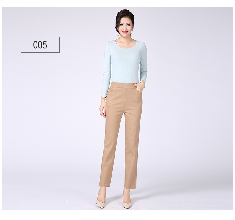 Women Casual Pants Plain Color Basic Trousers Spring Autumn Pantalones Mujer High Elastic Band Waist Pant Red White Gray Black (20)