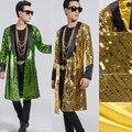Figurinos Para Os Cantores Homens Jaqueta de Lantejoulas Smoking Smoking Suit Blazer homme traje do Ouro Verde Feito À Mão Jaqueta De Lantejoulas De Ouro