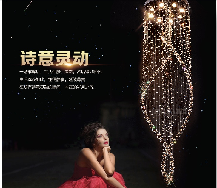 Newly Long Spiral Crystal Chandelier Lighting Fixture Crystal Lustre, staircase Lamp, stairs, foyer Large Crystal Stair Light modern spiral crystal ceiling light fixture long crystal stair lamp flush mounted crystal light fitting for staircase villa