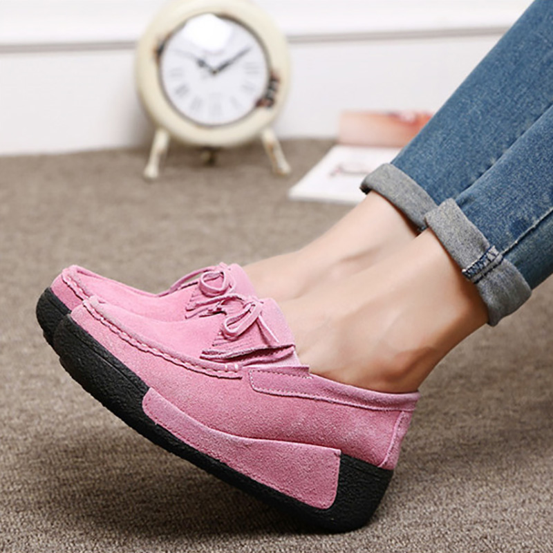 Image 5 - Plardin New Winter Women Flat Platform Shoes Genuine Leather fringe Cotton addition Ladies Flats Creepers Moccasins Oxford Shoes-in Women's Flats from Shoes