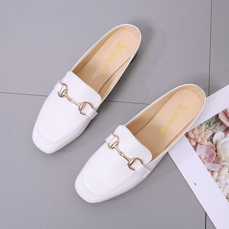 PHYANIC 2018 Для женщин летом за пределами тапочки круглый носок Слипоны женские Шлёпанцы обувь мода металлической пряжкой шлепанцы PHY41201
