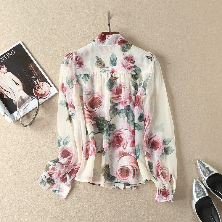 Hauts de piste 2018 printemps femmes élégant à manches longues imprimé Floral Bow soie mousseline de soie Blouse coréenne chemise femmes - 2
