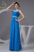 Bealegantom Fashion Blue Crystal A-Line Prom Dresses 2017 With Beading Sequin Chiffon Evening Party Gowns Vestido De Festa BP1-0