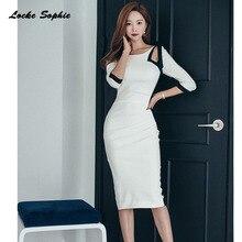 1pcs High waist Ladies Plus size Sexy dresses 2019 Autumn New Fashion cotton blend hole Mosaic Dress womens Skinny
