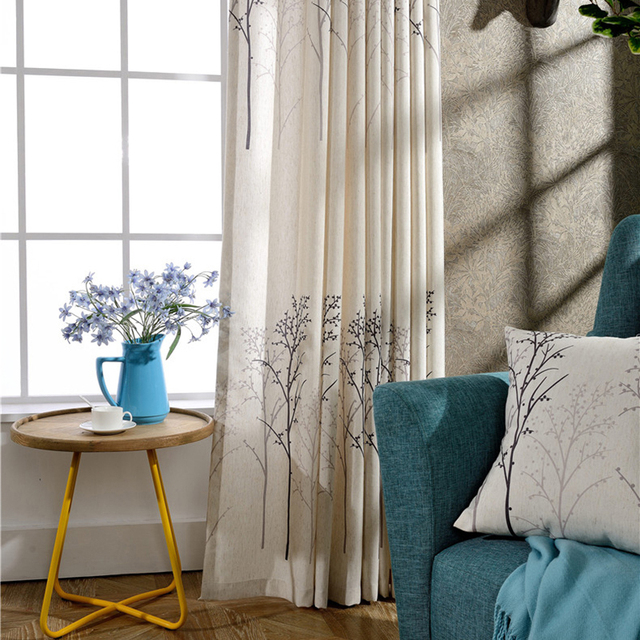 Simple American Style Traditional Curtains Living Room Cheap Linen Printing Casual Free Shipping