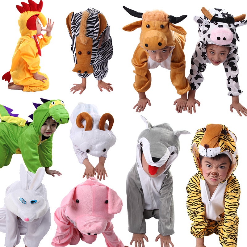 Halloween Kids Animal Elephant Dinosaur Tiger Costumes Cosplay Rooster Zebra Wolf Goat Monkey Frog Pand Jumpsuit For Boys Girls
