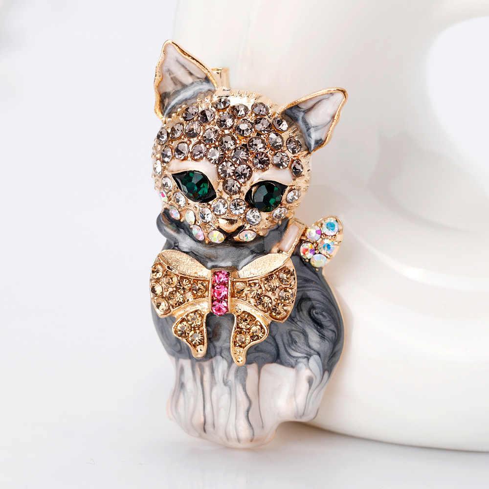 Cindy Xiang Enamel Cat Bros untuk Wanita Fashion Rhinestone Elegan KITTY Pin Bros Hewan Pin Kualitas Tinggi Baru 2018 Hadiah