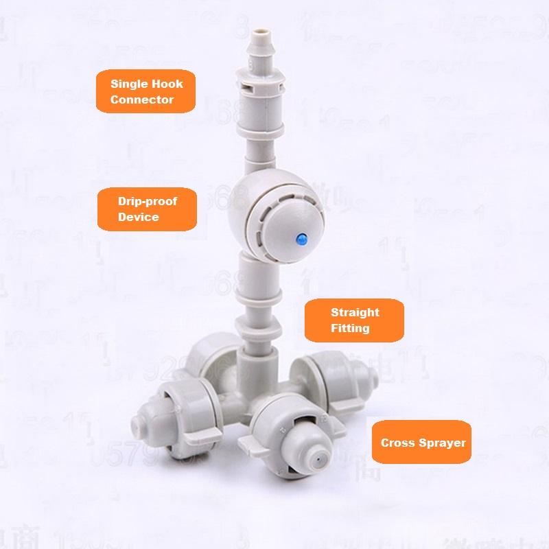 3Sets/lot  Micro Water Spray Suit  New Israeli Atomization Nozzle Greenhouse Sprinkling Irrigation System Fittings Long Lifespan