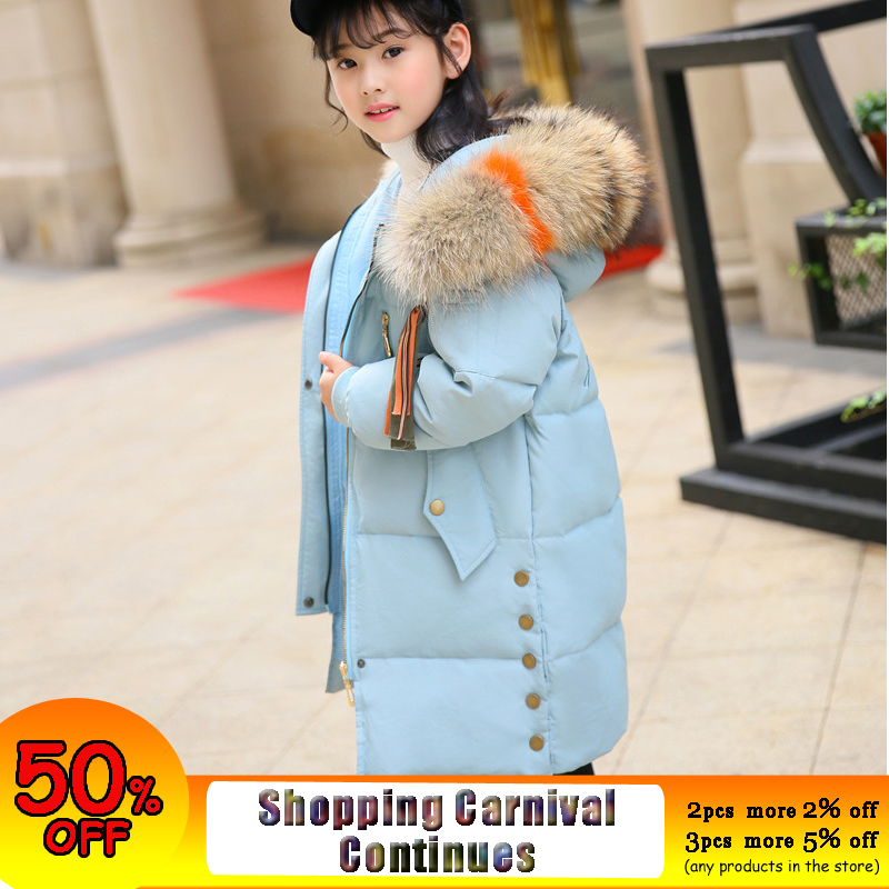 Duck Down Jacket Girl 2018 Winter Fur Hooded Coat for Teenage Girl 12 years 14 10 8 Long Parkas Children Girls Winter Clothing christmas cotton padded parkas teen winter coat girl long red pink black hooded warm winter jacket for girl 6 years 8 10 12 14