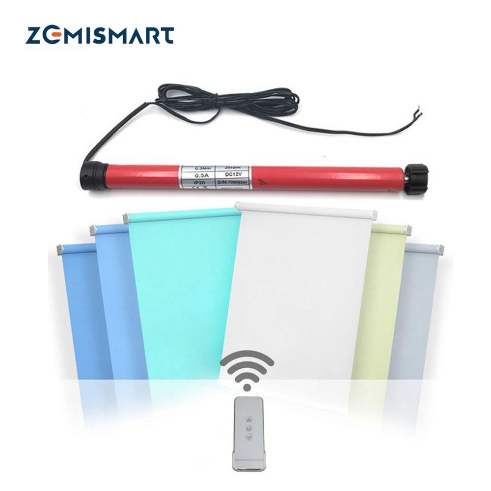 Zemismart For 28mm Tube Motorized Windows Blinds Motor DC12V RF433 Tubular Roller Shutters compatible broadllink