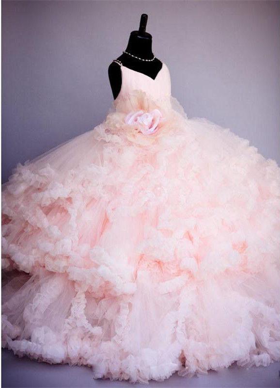 Real Picture 2019 Pink Flower Girl Dresses Үйлену тойы - Балалар киімі - фото 3
