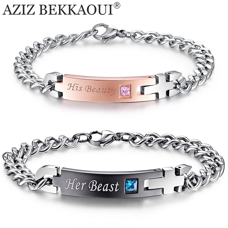 Drop shipping unique gift for lover couple bracelets stainless steel bracelets for women men jewelry customized