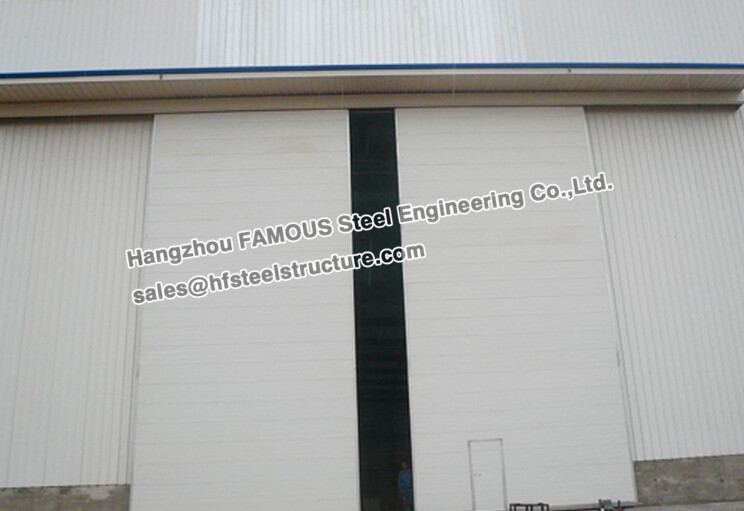Manual/Electrical Folded Push-Pull Overhead Industrial Sliding Door With Patent Track And Hardware Of Aircraft Hanger Warehouse