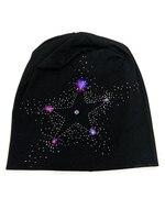 B17958 yeni moda Pentagram kristal beanie, iyi streç pırıltılı mor kristal taş şapkalar, kadınlar için kristal saç aksesuarları