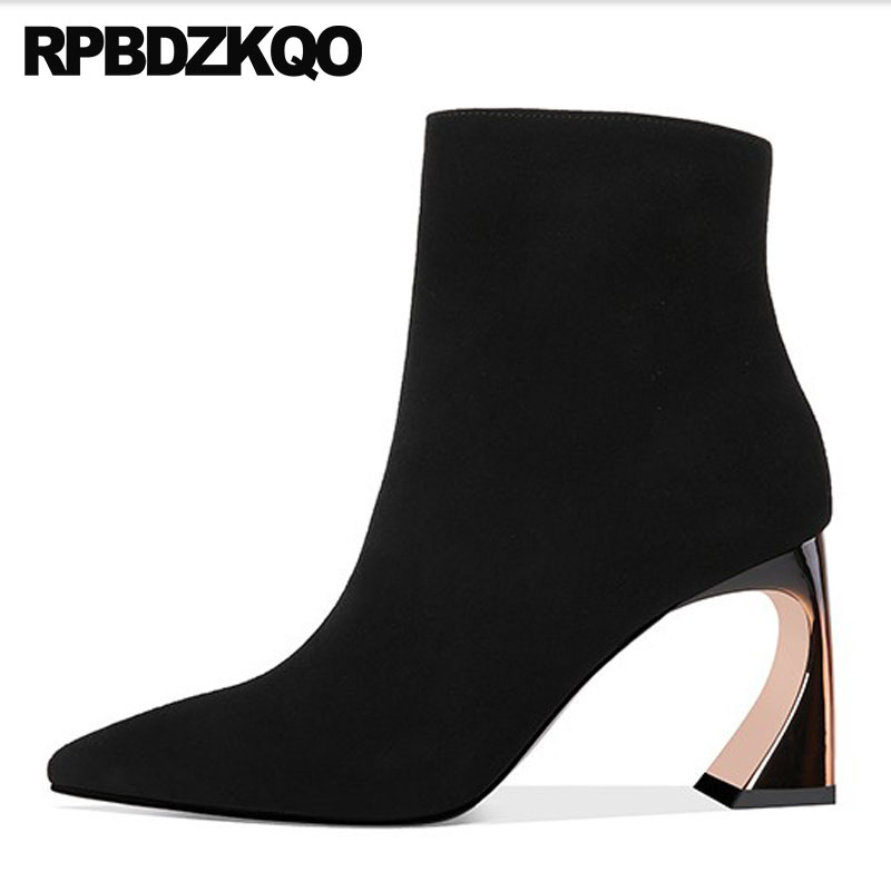 High Heel Pointed Toe Women Ankle Metal Boots Shoes Sheepskin Fur Hoof Suede Chunky Genuine Leather 10 Strange Winter Big SizeHigh Heel Pointed Toe Women Ankle Metal Boots Shoes Sheepskin Fur Hoof Suede Chunky Genuine Leather 10 Strange Winter Big Size