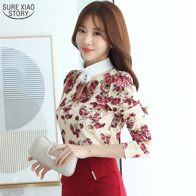 Hot Sale 2016 Spring and Autumn Fashion Korean Female Long-sleeved  Silk Blouse  Large Size Lace Casual Slim Women Shirt 883C 25